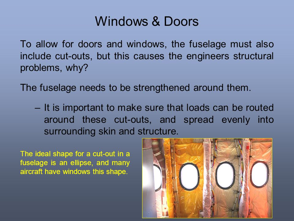 Windows & Doors To allow for doors and windows, the fuselage must also include cut-outs, but this causes the engineers structural problems, why