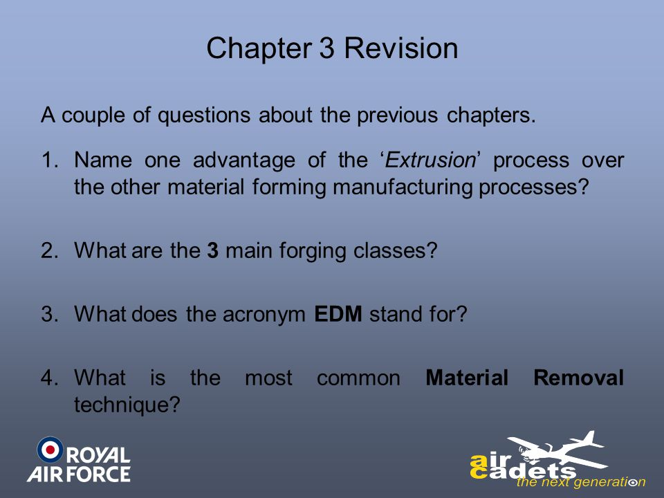 Chapter 3 Revision A couple of questions about the previous chapters.