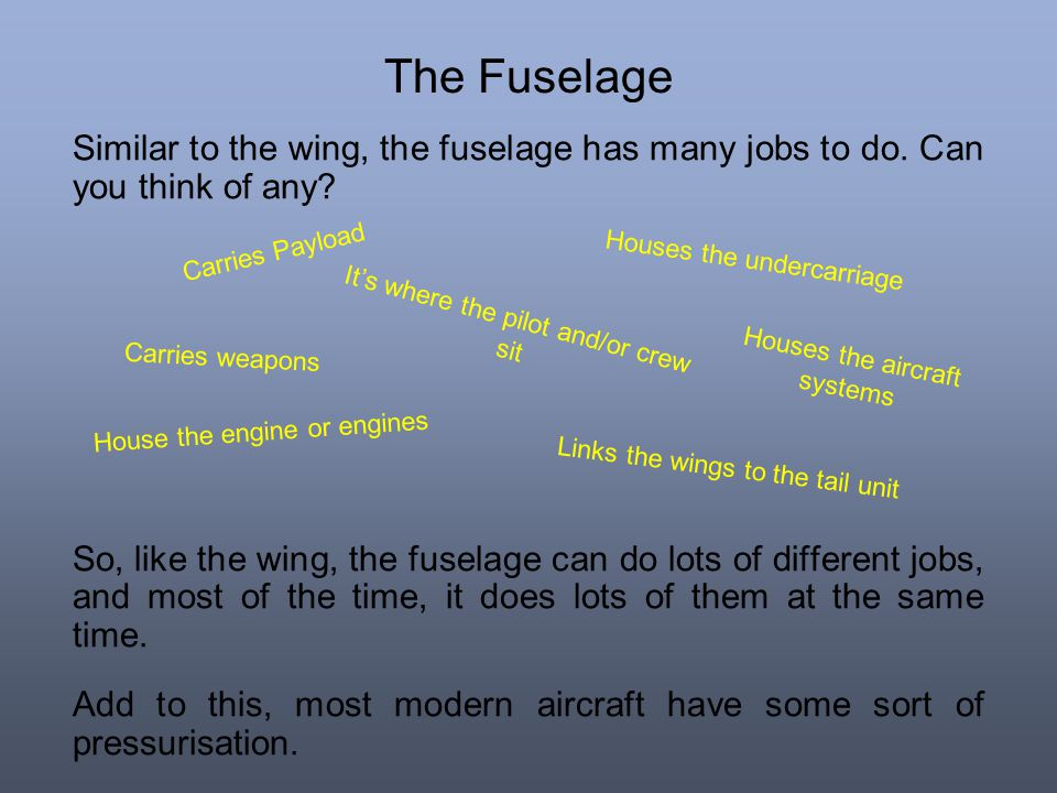 The Fuselage Similar to the wing, the fuselage has many jobs to do. Can you think of any