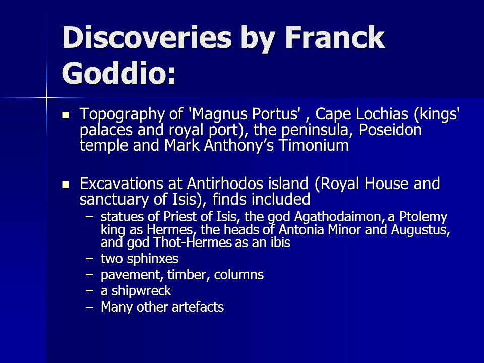 Discoveries by Franck Goddio: