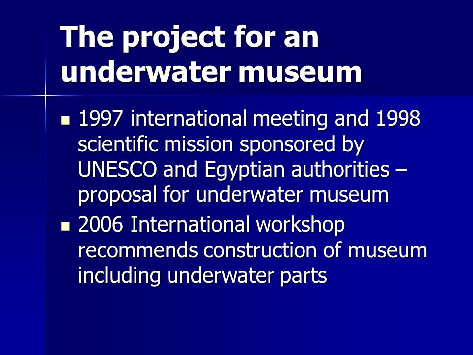 The project for an underwater museum