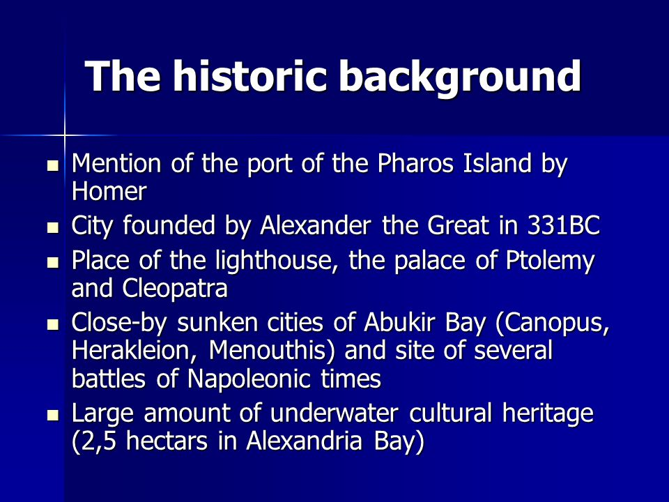 The historic background