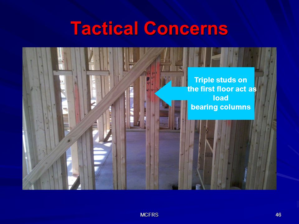 Tactical Concerns Triple studs on the first floor act as load