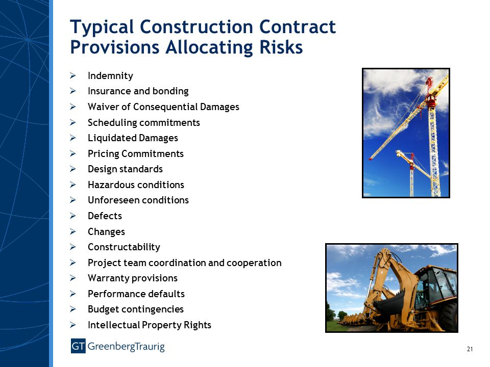 Typical Construction Contract Provisions Allocating Risks
