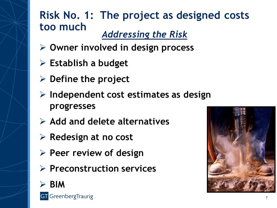 Risk No. 1: The project as designed costs too much