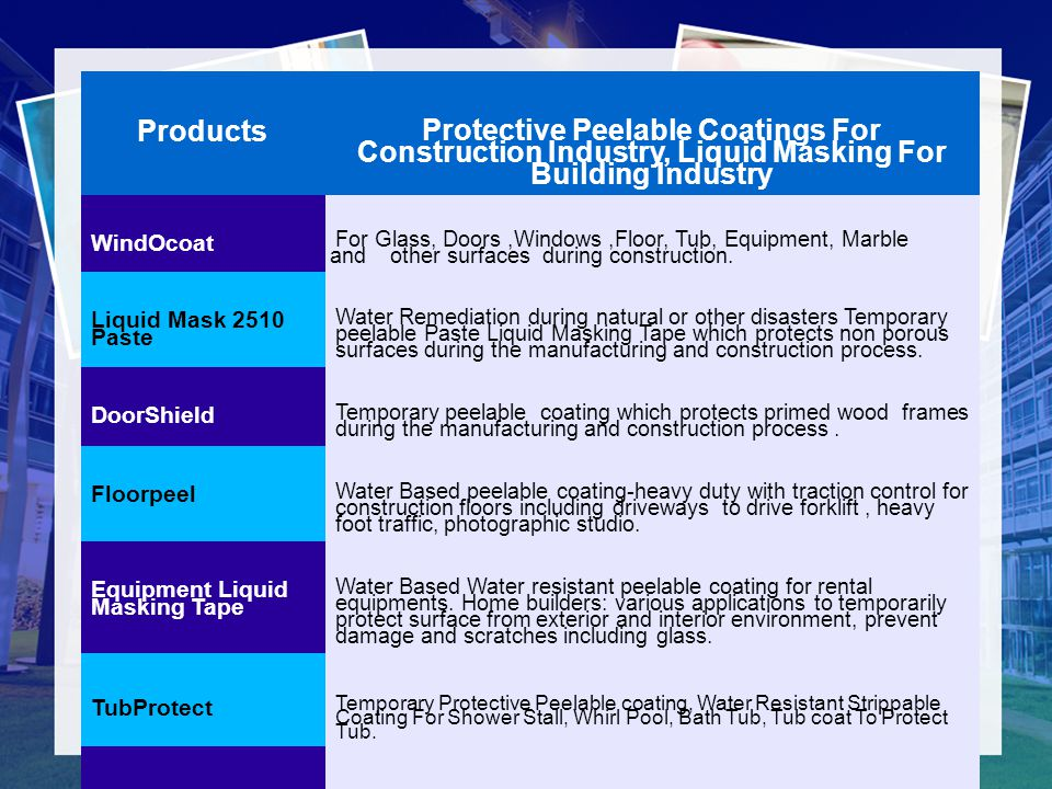Products Protective Peelable Coatings For Construction Industry, Liquid Masking For Building Industry.