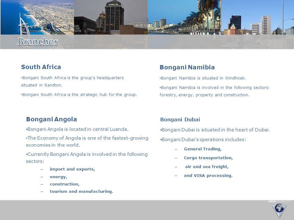 Branches South Africa Bongani Namibia Bongani Angola Bongani Dubai