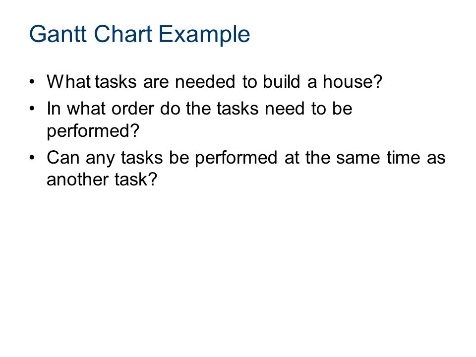 Gantt Chart Example What tasks are needed to build a house