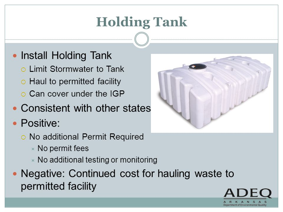 Holding Tank Install Holding Tank Consistent with other states