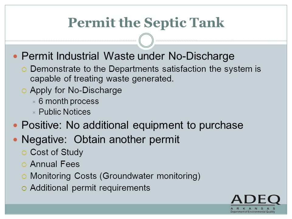 Permit the Septic Tank Permit Industrial Waste under No-Discharge