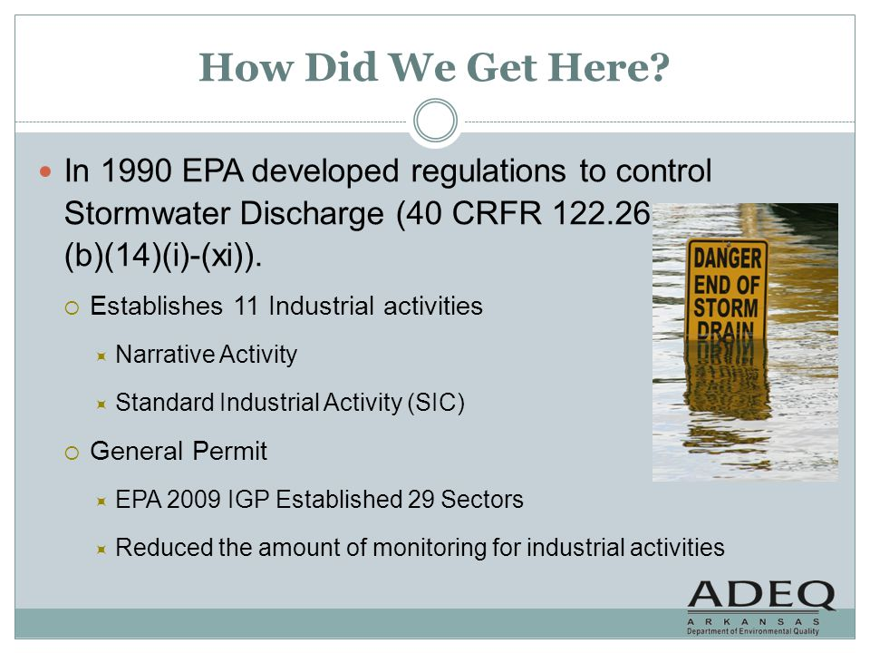 How Did We Get Here In 1990 EPA developed regulations to control Stormwater Discharge (40 CRFR 122.26 (b)(14)(i)-(xi)).