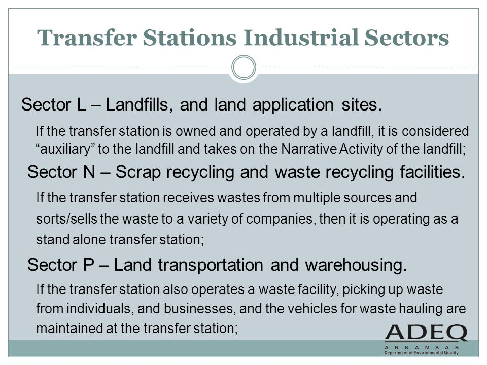 Transfer Stations Industrial Sectors