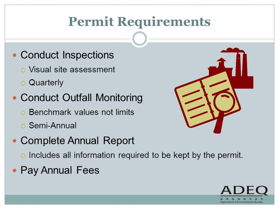 Permit Requirements Conduct Inspections Conduct Outfall Monitoring