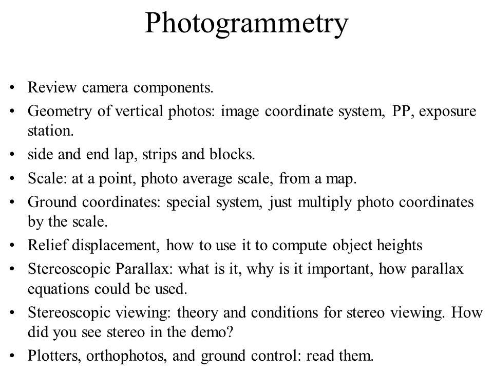 Photogrammetry Review camera components.