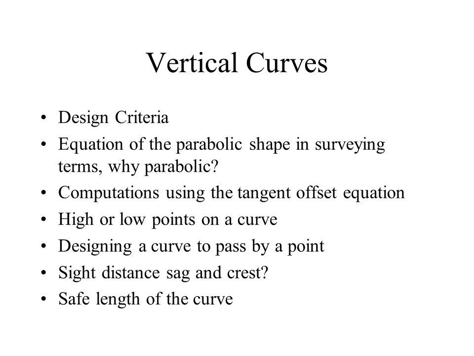 Vertical Curves Design Criteria