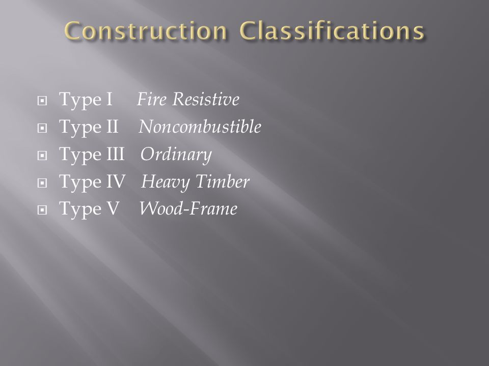 Construction Classifications