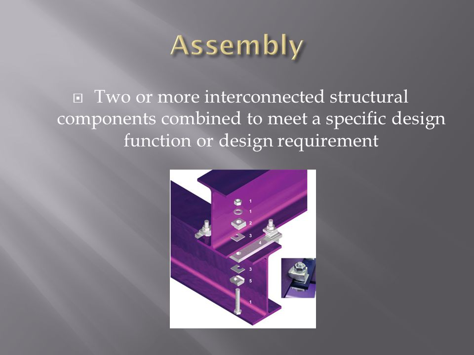 Assembly Two or more interconnected structural components combined to meet a specific design function or design requirement.