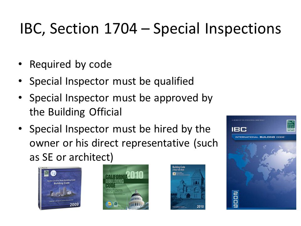 IBC, Section 1704 – Special Inspections