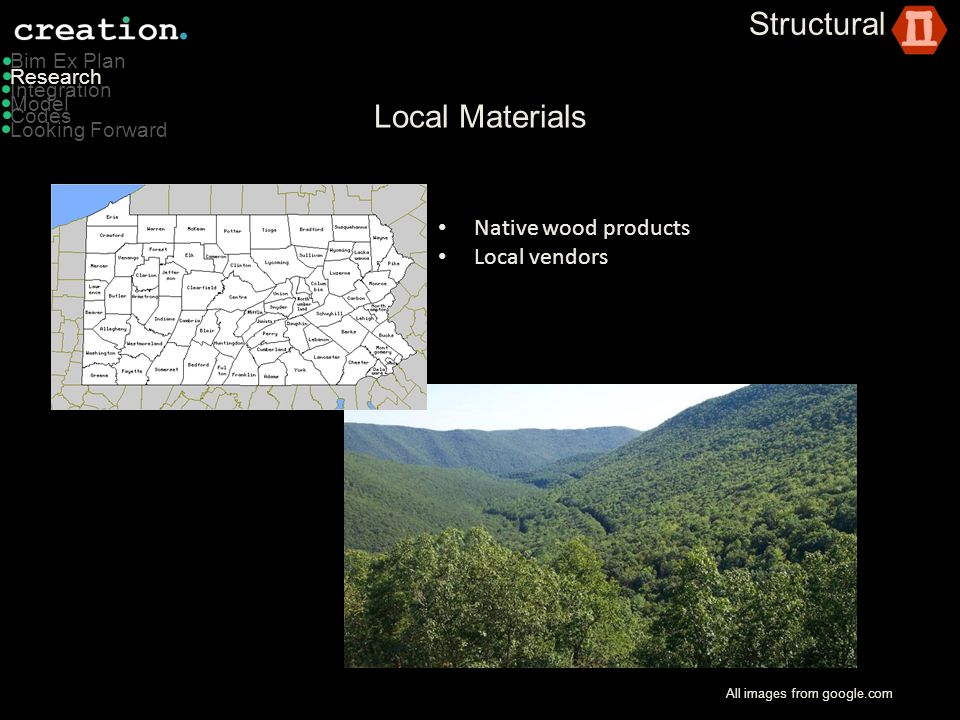 Structural Local Materials Native wood products Local vendors