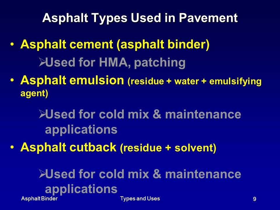 Asphalt Types Used in Pavement