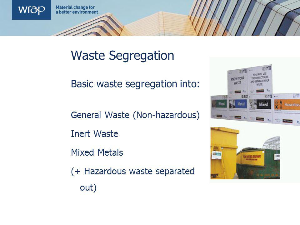 Waste Segregation Basic waste segregation into: