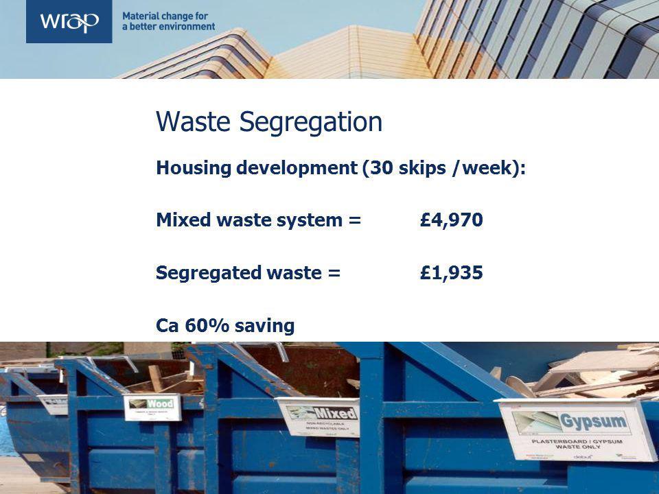 Waste Segregation e.g. Simons Construction Saving of £3,035