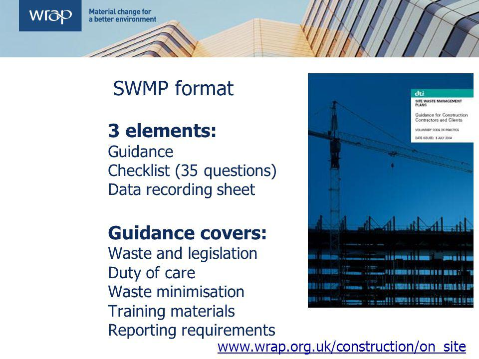 SWMP format 3 elements: Guidance covers: Guidance
