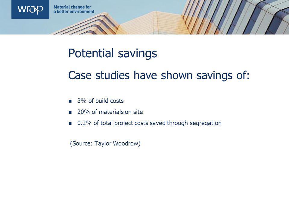 Potential savings Case studies have shown savings of: