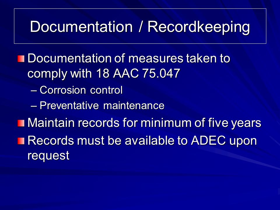 Documentation / Recordkeeping