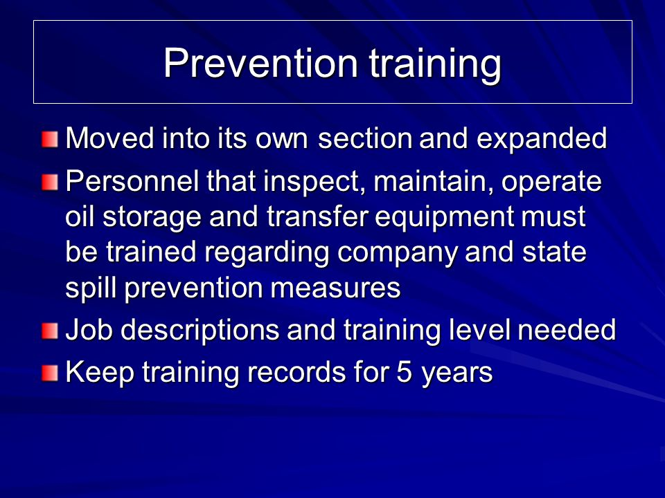 Prevention training Moved into its own section and expanded