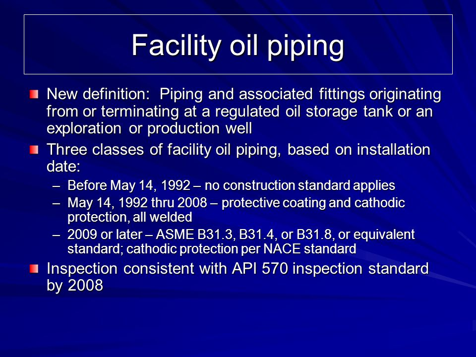 Facility oil piping