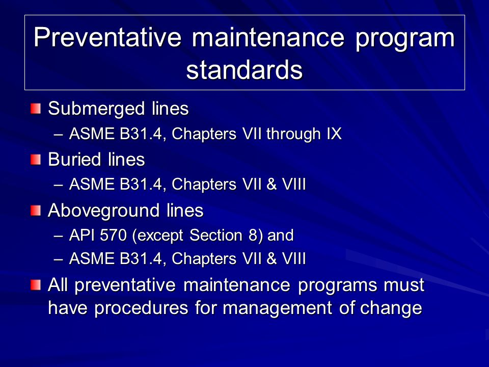 Preventative maintenance program standards