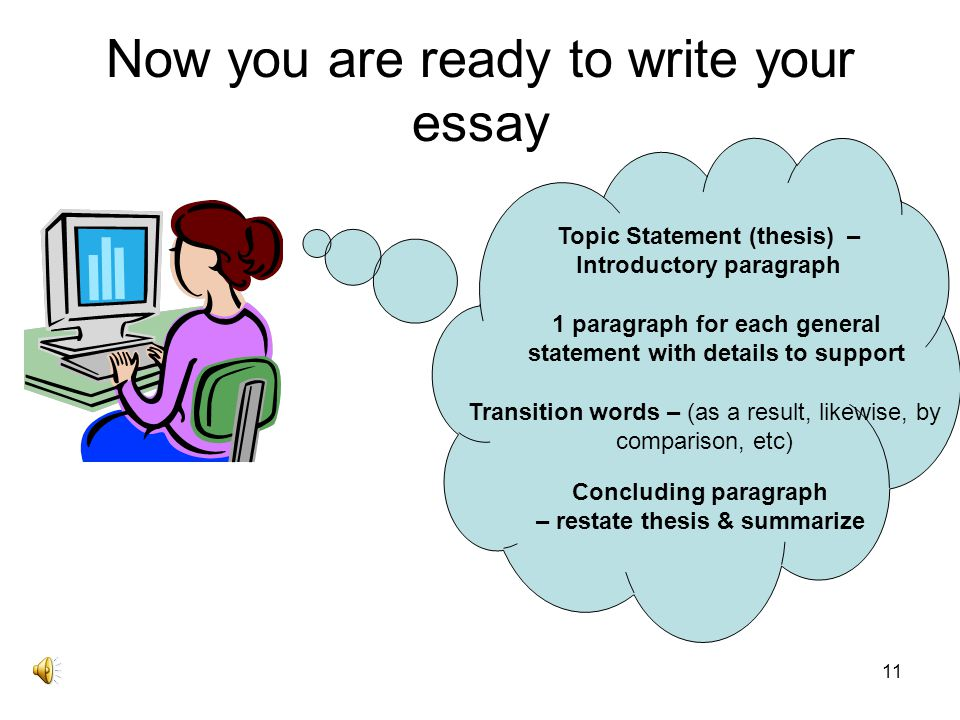 Now you are ready to write your essay
