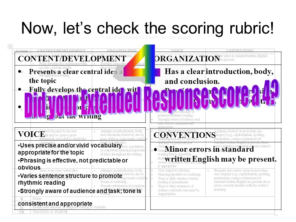 Now, let's check the scoring rubric!