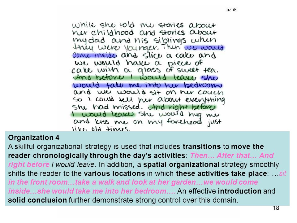 Organization 4 A skillful organizational strategy is used that includes transitions to move the reader chronologically through the day s activities: Then… After that… And right before I would leave.