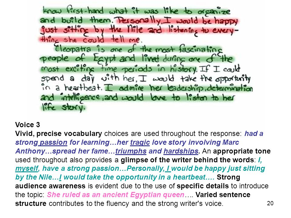 Voice 3 Vivid, precise vocabulary choices are used throughout the response: had a strong passion for learning…her tragic love story involving Marc Anthony…spread her fame…triumphs and hardships.