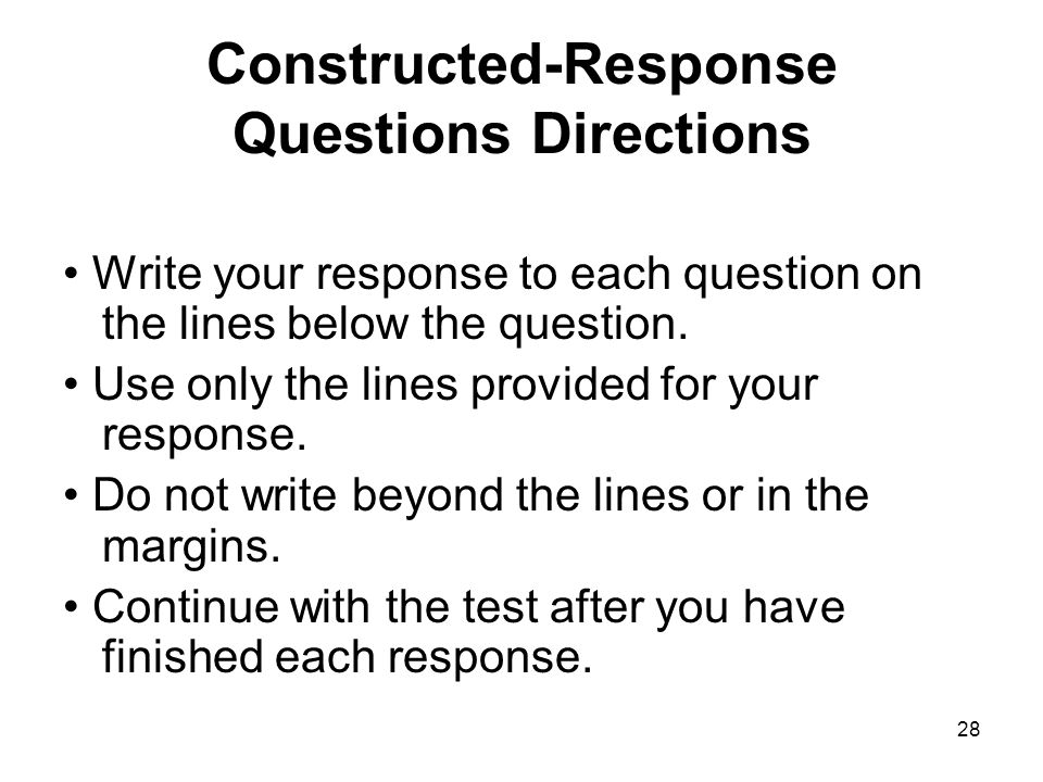 Constructed-Response Questions Directions