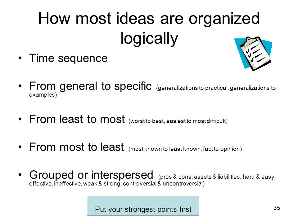 How most ideas are organized logically