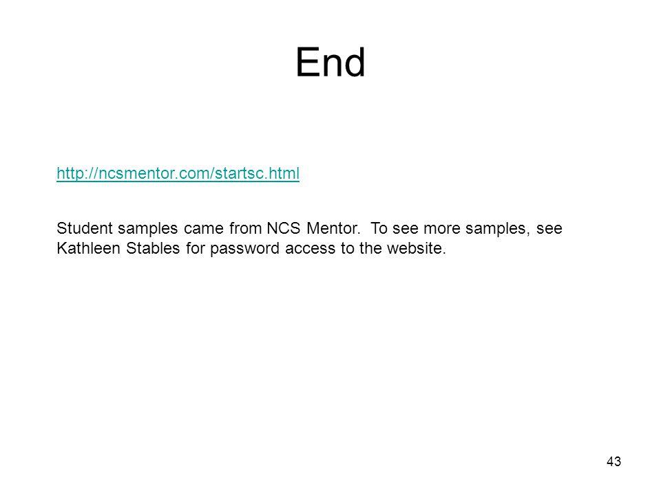 End http://ncsmentor.com/startsc.html