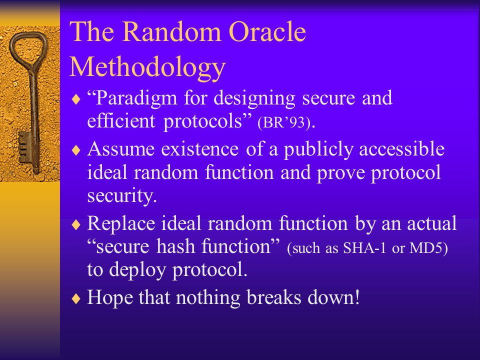 The Random Oracle Methodology