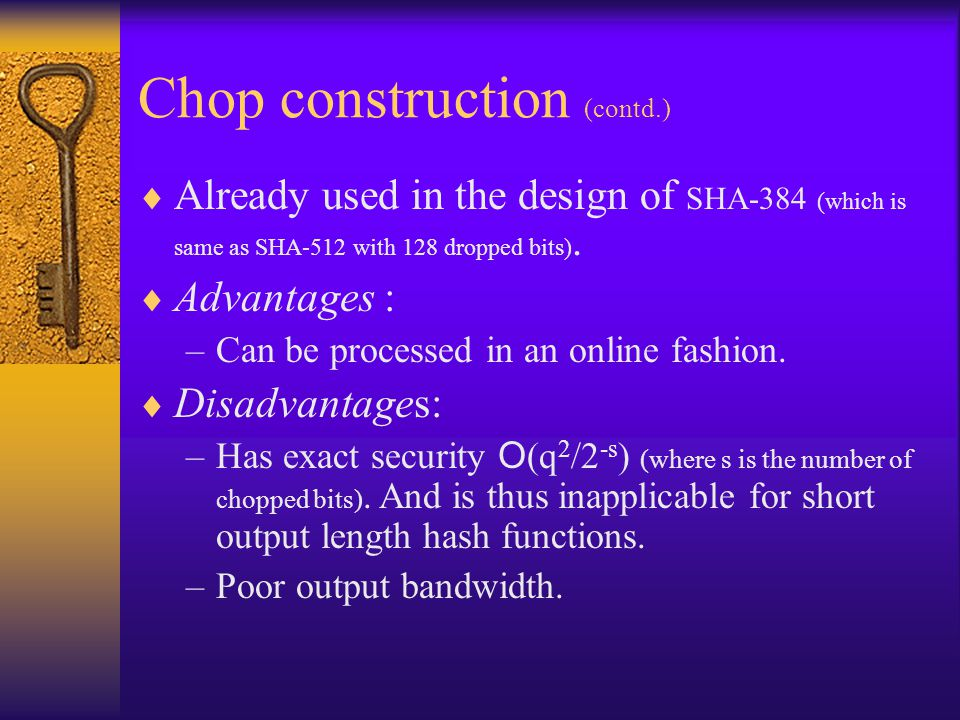 Chop construction (contd.)