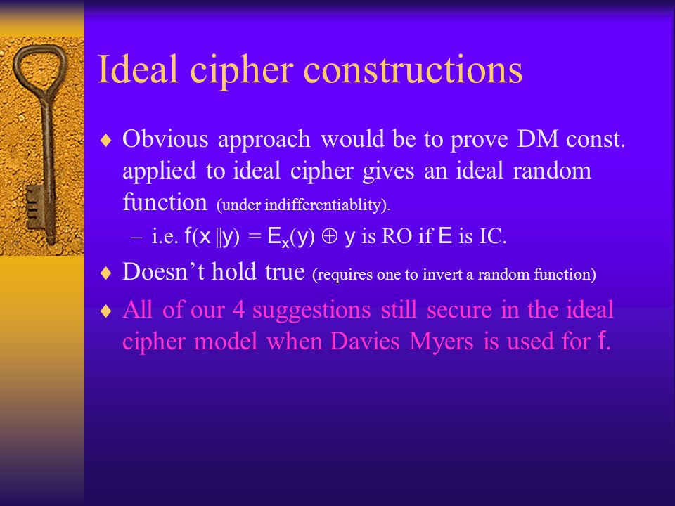 Ideal cipher constructions