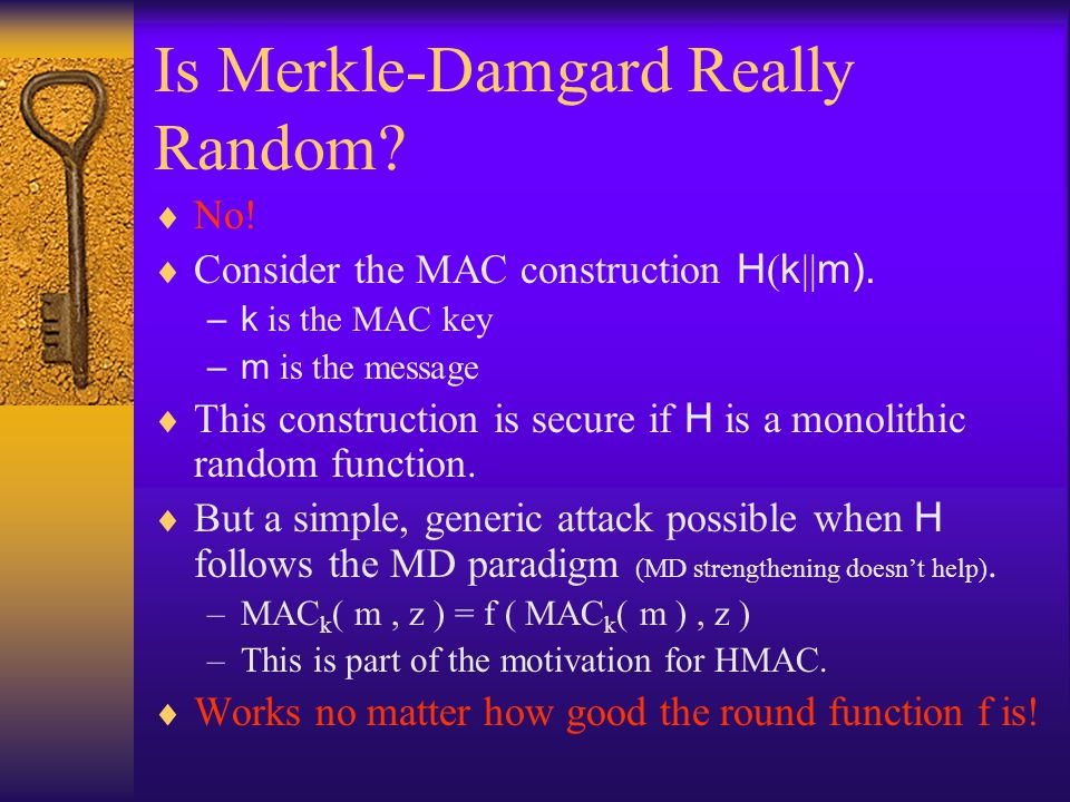 Is Merkle-Damgard Really Random