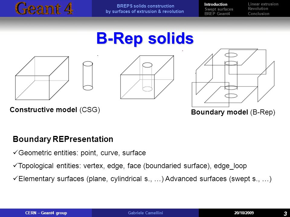 B-Rep solids Boundary REPresentation Constructive model (CSG)