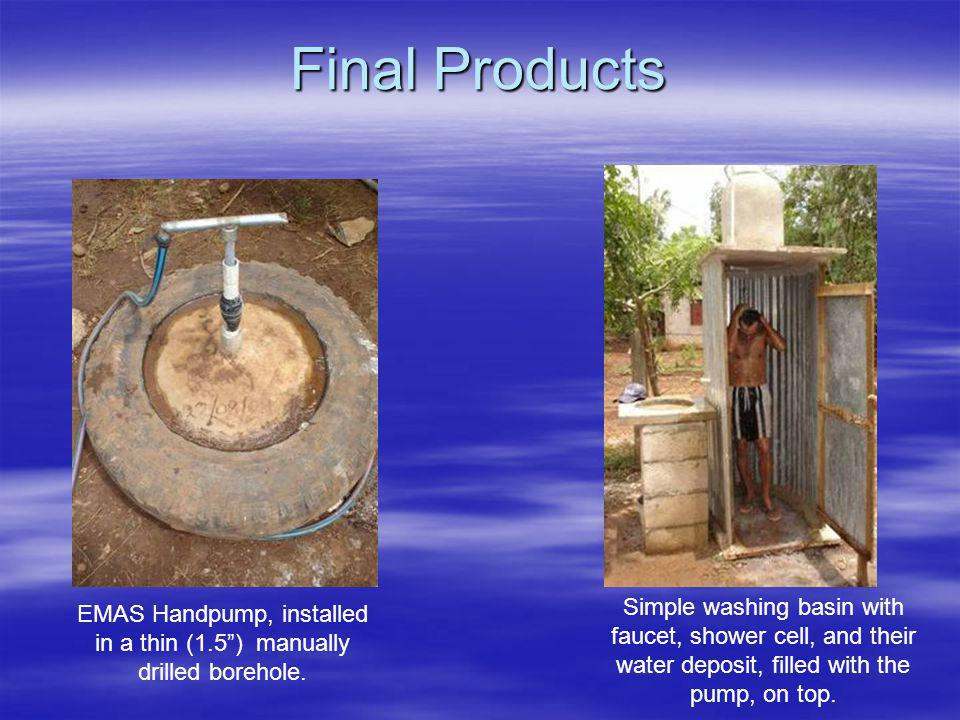EMAS Handpump, installed in a thin (1.5 ) manually drilled borehole.