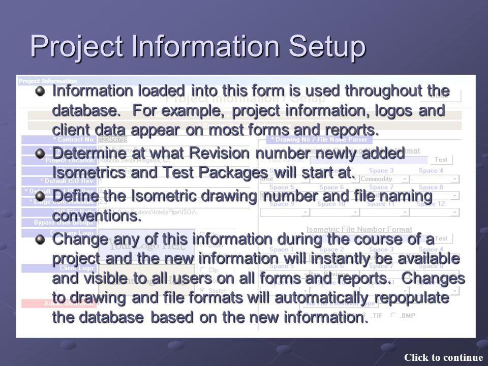 Project Information Setup