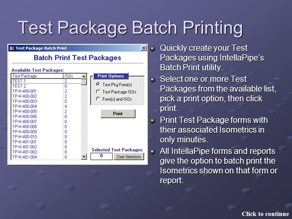 Test Package Batch Printing
