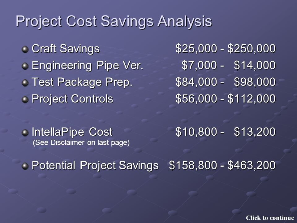 Project Cost Savings Analysis