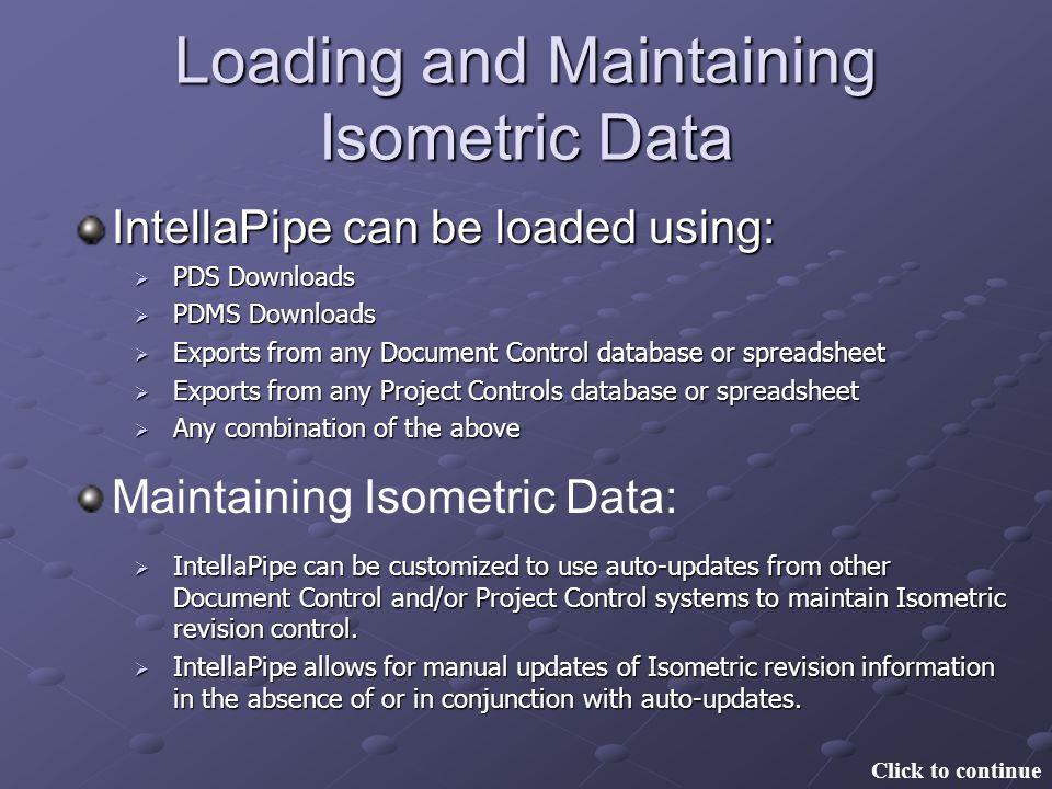 Loading and Maintaining Isometric Data