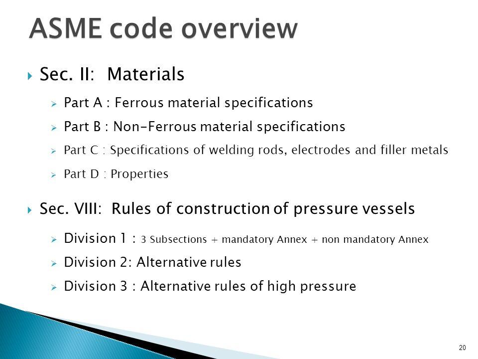 ASME code overview Sec. II: Materials